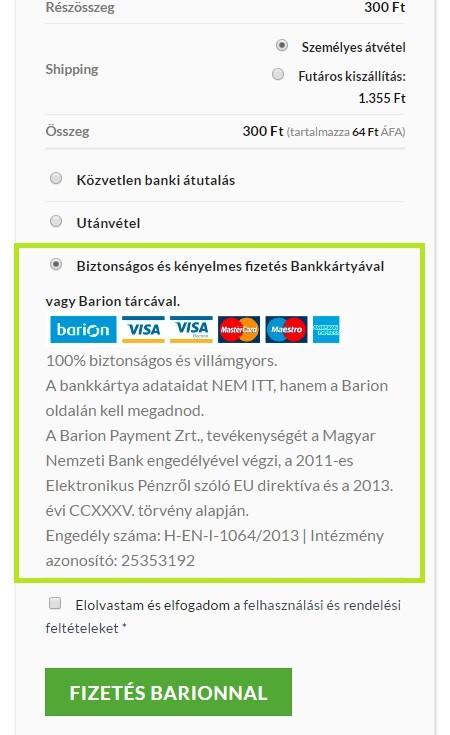Fizetés bankkártyával Medallion 2